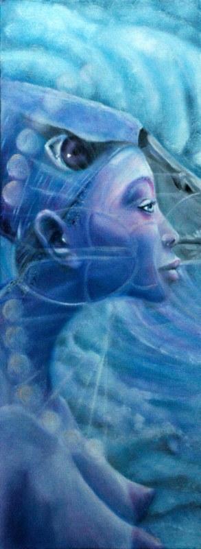 Messaggi da altri mondi, 2006, olio su tela, 30x80