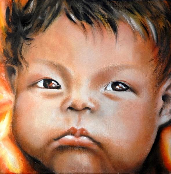 Elfo del fuoco - 2008, olio su tela, 30x30