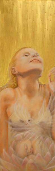 Rinascita nella gioia - 2008, olio su tela, 40x120