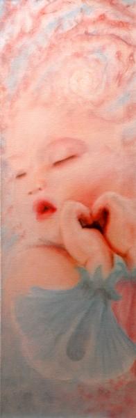La bambina magica, olio su tela, 2009, 30x90