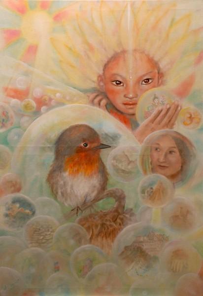 Sfere di luce, olio su tela, 2009, 70x100