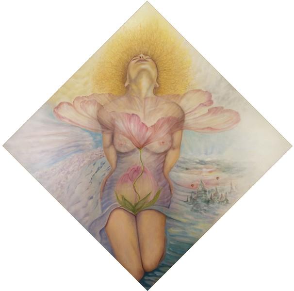 DONNA FIORE, olio su tela, 2011, 100x100